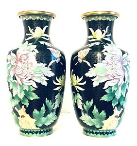 Large Vintage Matched Pair Of Chinese Hand Made Bronze Cloisonne Vases 13 H