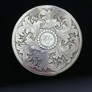 Vintage Sterling Silver Mirror Compact Large Ornate Powder Case Rex 5th Avenue