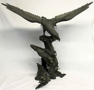 Japanese Meiji Period Bronze Sea Hawk Sculpture Signed Sazuki Circa 1880 Antique