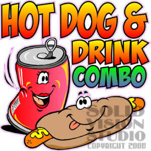 Hot Dog Drink Combo Concession Trailer Food Truck Vinyl Sticker Menu Decal