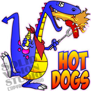 Hot Dogs Dragon Cartoon Concession Trailer Food Truck Vinyl Sticker Menu Decal
