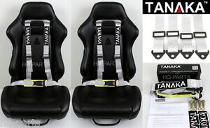2 X Tanaka Universal Silver 4 Point Buckle Racing Seat Belt Harness