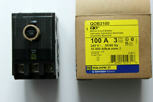 Square D Qob3100 Bolt on Circuit Breaker 100a 3 Pole 240 Vac New In Box
