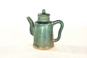 Antique Chinese Green Ceramic Pottery Teapot Wine Pot 19th C