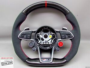Audi 2nd Gen R8 Coupe Spyder V10 Thick Small Red Ring Carbon Steering Wheel V2