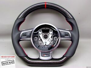 Audi R8 Gt Ttrs Rs6 Rs3 Small Red Ring Stitch Napa Dsg Carbon Steering Wheel V2