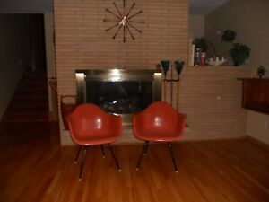 Mid Century Herman Miller Ray Charles Eames Fiberglass Lounge Chairs X2 Mcm