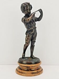 Auguste Moreau Signed Bronze Sculpture Boy With Flute France 19th C