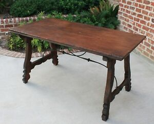 Antique Spanish Oak Catalan Mission Farmhouse Dining Table Iron Stretcher Desk