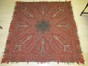 70 X70 1800s Antique Hand Made Paisley Wool Piano Shawl Victorian Scarf Stunning
