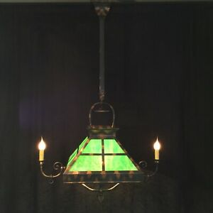 Antique Chandelier Japanned Flashed Copper Gas Converted Slag Glass Pool Table