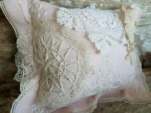 Vtg Crochet Lace Doily Linen Small Pillow Shelf Cupboard Tuck Embroidery Pink A
