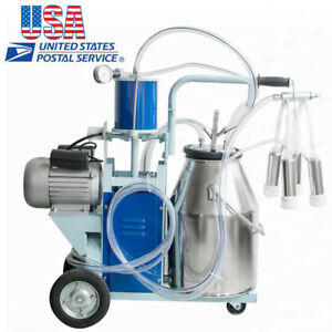 usa 25l Milker Piston Vacuum Pump Electric Milking Machine For Farm Cows Bucket