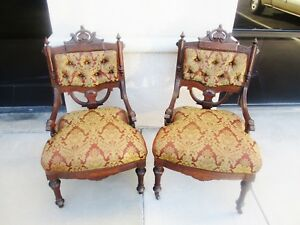 Unusual Pair Of 19th Century Renaissance Revival Victorian Walnut Parlor Chairs