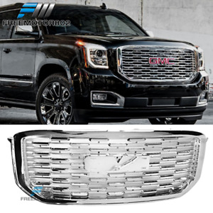 Fits 2015 2019 Gmc Yukon Xl Denali Style Front Bumper Grille Cover Chrome Abs