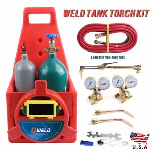 Portable Hvac Welding Victor Tote Torch Kit Oxygen Acetylene Regulator Two Tanks