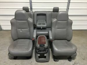 1999 2010 Ford F250 F350 Super Duty Front Rear Seats Gray Leather