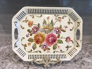 Creamy Butter Yellow Vintage Tole Tray Orange Melon Cabbage Roses Green Leaves