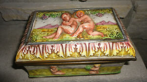 Vintage Capodimonte Hinged Box Metal Brass Trim Nude Design