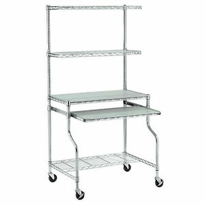 Mobile Chrome Wire Shelf Computer Workstation 31 1 2 w X 24 d X 63 h Lot Of 1