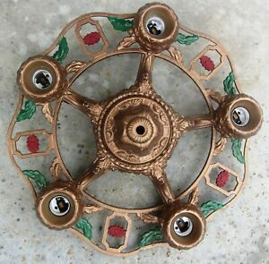 Vintage 5 Socket Ceiling Fixture Chandelier Iron Hanging Lamp Art Deco Antique