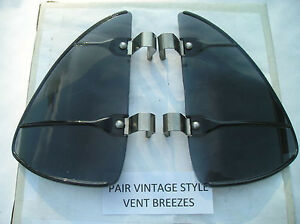 New Pair Of Smoke Colored Vintage Style Air Vent Deflectors