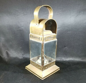 Vtg Brass Ships Lamp Oil Kerosene Lantern Handle Nautical Marine Beveled Glass