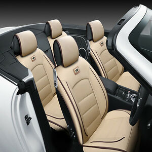 5 seats Universal Auto Car Seat Mat Pad Cover Chair Cushion Pu Leather Beige Udw