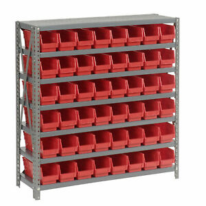 7 Shelf Steel Shelving With 48 4 h Plastic Shelf Bins Red 36x12x39 Lot Of 1