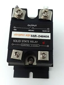 Solid State Relay Ssr d4840a Control 3 32vdc 40a 480vac Output W Heatsink Used