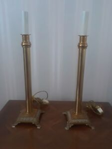 Brass Candlestick Lamps 14 In Fro Base O Tip Of Candle