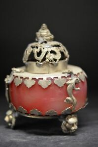 Chinese Old Jade Inlaid Tibet Silver Copper Buddha Incense Burner Yr
