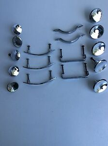 Assorted Vintage Chrome Dresser Drawer Pull Handles Knobs Lot Of 17 Italy