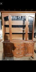 Vintage French China Cabinet Louis Xv Wood Glass Doors