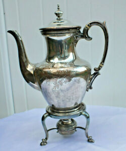 Vintage Silver Plated 2 75 Pint Engraved H Teapot Stand And Burner