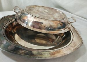 Sheets Rockford S Co Silver Platter Serving Epns 155 Includes Lid Handles