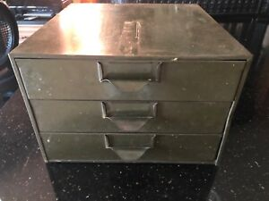 Vintage Industrial Metal Parts Cabinet Tool Box 3 Drawer Chest