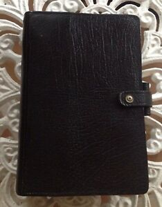 Vintage Filofax For Liberty Black Calf Leather Personal Organiser 4 Clf 7 8