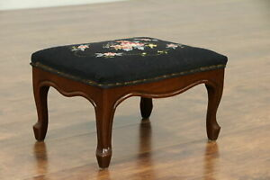 Walnut Carved Antique Footstool Needlepoint Upholstery 30548