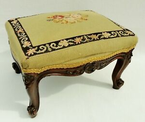 Antique Vtg Victorian Floral Needlepoint Carved Solid Mahogany Foot Stool 5478