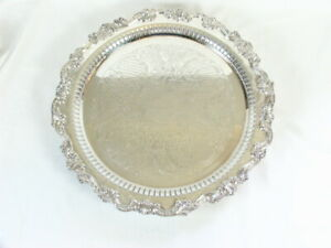 Vintage 15 3 8 Round Heavy Sheridan Silverplated Serving Tray Footed Chased