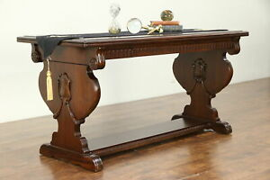 Walnut Carved Antique Hall Console Or Sofa Table Drawer 30568