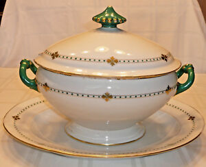 Antique Large 14 Soup Tureen 17 Under Plate White With Green Gold Detail