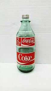 COCA COLA  - 1970's  2 LITTER GREEN BOTTLE with METAL CAP - GREAT CONDITION +++
