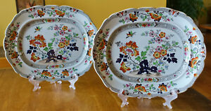 2 Antique Ironstone Polychrome Imari Staffordshire Platters Ashworth Hollow Rock