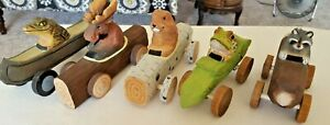 Lot 5 Vintage Hand Carved Wooden Animal Cars Estate Find Adorable