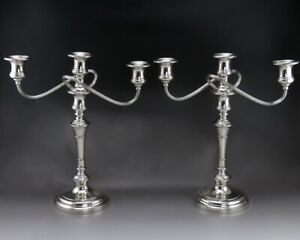 Pair Vintage S Kirk Son Sterling Silver 3 Tri Candle Candelabra Convertible