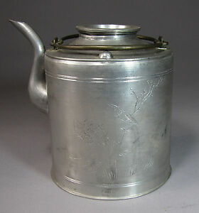 A Fine Chinese Silvered Pewter Tea Pot Incised With A Phoenix 19th C