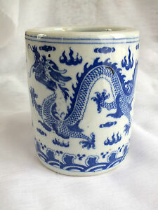 Chinese Blue Lucky Dragon Pen Brush White Ceramic Pot Cutlery Holder Japanese