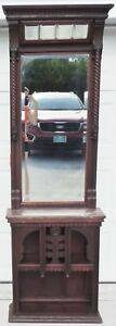 Antique English Oak Barley Twist Marble Mirror Console Table Hall Tree Stand